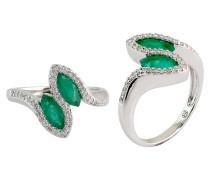 Damenring mit Diamanten und Smaragde, Weissgold 585
