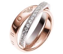 Damenring Silber mit Zirkonia rosevergoldet