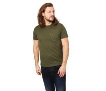T-Shirt, Brusttasche, Baumwolle, Rundhalsausschnitt