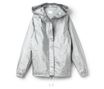 Damen-Jacke mit Kapuze aus silbernem Funktionsstoff