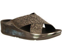 Clogs Crystall Slide- Damenschuhe Pantolette / Zehentrenner, Grau, l