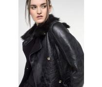 Jacke aus Leder mit Crackle-Effekt