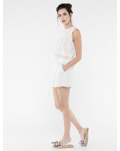 Shorts aus Baumwollmusselin