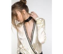 Body-Bluse aus Seidensatin
