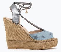Espadrilles-Sandalen aus Denim und Leder