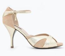 Sandalo in Lamina e Camoscio bicolore