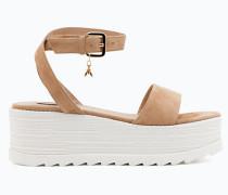 Sandale aus Waschleder mit Keilabsatz