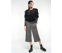 Hose aus Wollgemisch mit Jacquardmuster und Stretch