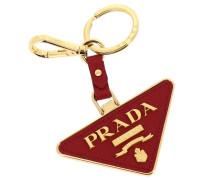 Dreieckiger Schlüsselring aus Metall und Saffiano-leder