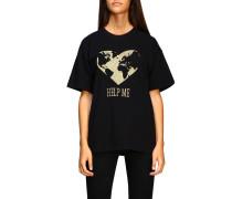 T-shirt mit Help Me Lurex-stickerei