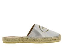 Sandale aus Laminiertem Leder mit Gesticktem Logo