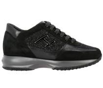 Interactive Sneakers aus Veloursleder und Lurex
