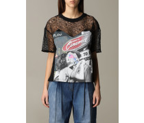 T-shirt in Spitze und Baumwolle mit Aufdruck