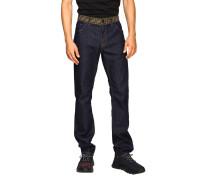 Slim Jeans in Used Denim mit Logo-bund