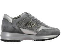 Sneakers aus Veloursleder und Laminiertem Leder