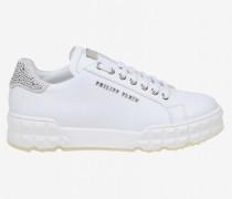 Leder Sneakers mit Strass Steinen