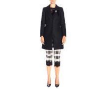 Mittelgroßer; Zweifarbiger Mantel aus Cremefarbener Wolle
