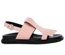 Flat Sandale aus Leder mit Fransen