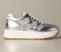 Sneakers aus Laminiertem Leder und Micro Mesh
