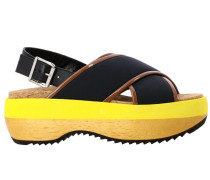 Leder Sandale mit Zweifarbiger Sohle