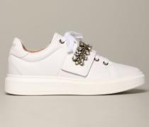 Sneakers aus Leder mit Kette und Strass