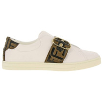 Sneakers aus Leder mit Durchgehender Ff-schnalle
