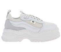 Sneakers aus Leder und Netz mit Maxi Sohle
