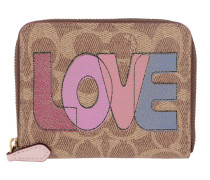 Portemonnaie Signature Love Small Zip Around Wallet Tan Pink Multi