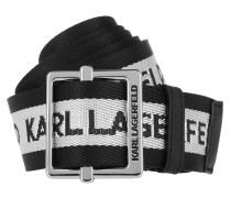 Gürtel Karl Logo Webbing Belt Black schwarz