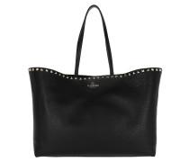 Rockstud Studded Shopping Bag Leather Black Shopper