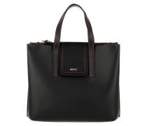 Calf Carmen Satchel Bag Small Black/Red Satchel Bag