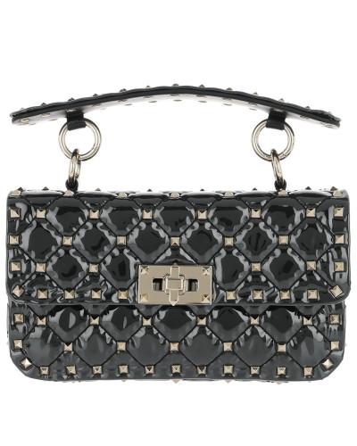 Rockstud Shoulder Bag Patent Leather Transparent/Black Tasche