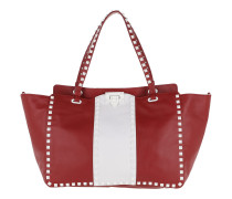 Rockstud Striped Tote Leather Red/White Tote