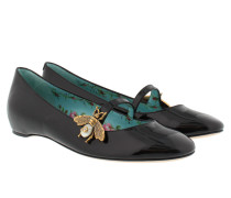 Patent Leather Ballet Flat With Bee Black Ballerinas