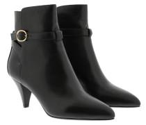 Boots Triangle Heel Jodhpur Ankle Calfskin Black