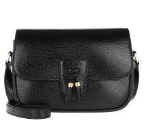 Umhängetasche Medium Tassels Bag Textured Calfskin Black schwarz