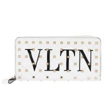 VLTN Zip Around Wallet Spike Leather White