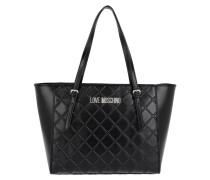 Quilted Embossed Shopping Bag Metallic Nero Tote