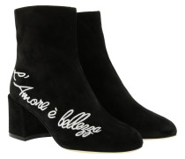 Boots Embroidered Ankle Boots Suede Black schwarz