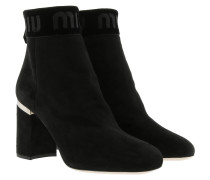 Miu Miu Ankle Boots Leather Black Schuhe