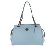 Tote Refined Calf Leather Parker Handle Bag Blue blau