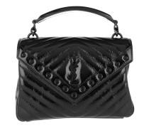 College Medium Shoulder Bag Leather Black Tasche