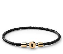 Armband Nexus Leather Bracelet Gold Vermeil Polished S Black