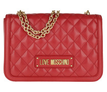 Umhängetasche Quilted Nappa Pu Chain Crossbody Bag Rosso rot