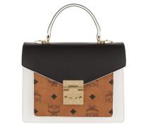 Patricia Visetos Leather Block Satchel Small Cognac/Black Satchel Bag