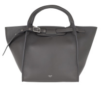 Tote Small Big Bag With Long Strap Leather Grey
