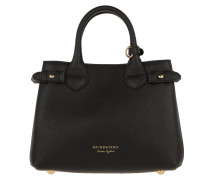 House Check Derby Leather Small Banner Tote Black Tote
