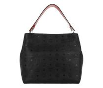 Klara Monogrammed Leather Hobo Medium Black Hobo Bag