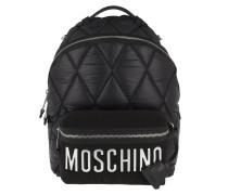 Quilted Zip Backpack Black/Silver Rucksack