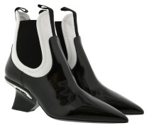 Prada Ankle Boot Patent Leather Black/White Schuhe